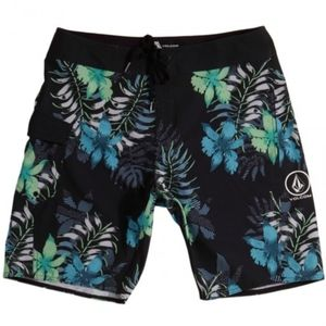 Volcom tropical print swim trunk shorts